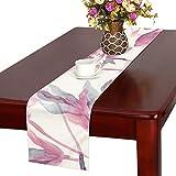 LNJKD テーブルランナー ピンクの花 クロス 食卓カバー 麻綿製 欧米 おしゃれ 16 Inch X 72 Inch (40cm X 182cm) キッチン ダイニング ホーム デコレーション モダン リビング 洗える