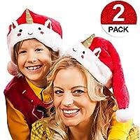 JoyJon サンタハット クリスマスハット 赤 白 ヘッドピース 快適ライナー ヘッドドレス パーティー装飾 クラシックコスプレ衣装 メイクアップ ハンドメイド ソフトハット ヘアアクセサリー 2パック クリスマスハット 子供用 男の子 女の子