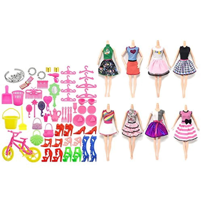 DollsアクセサリーKit 8?pcsファッションガール人形おもちゃサマードレスガウン服装服+ 55?Pcs Clothing and Playing Accessories forバービーToys子供用ガールズ誕生日クリスマスギフト