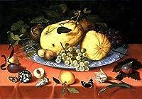 ¥5K-200k 手書き-キャンバスの油絵 - 美術大学の先生直筆 - Fruit 静物 with shells Ambrosius Bosschaert 絵画 洋画 複製画 ウォールアートデコレーション -サイズ17