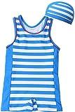 【Babystity】 ベビー 水着 UPF50+ グレコタイプ ボーダー柄 帽子付き 2点セット 男の子 赤ちゃん 70〜100cm (90)