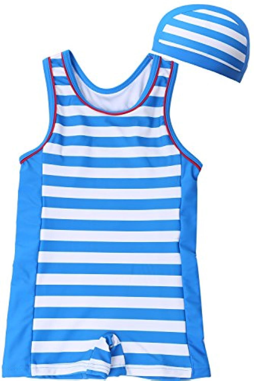 【Babystity】 ベビー 水着 UPF50+グレコタイプ ボーダー柄 帽子付き 2点セット 男の子 赤ちゃん 70?100cm