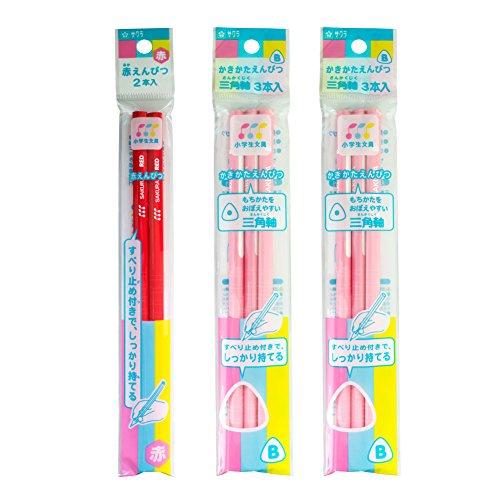 かきかた鉛筆 B 三角軸 ピンク+赤鉛筆 GエンピツBアカ#20