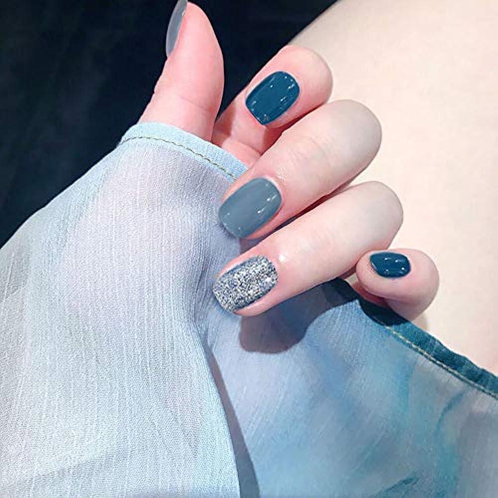 フィールド素朴な圧倒的XUTXZKA ショートサイズフルカバーネイルのヒント女性ファッションフェイクネイルブルーカラーネイル