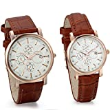 JewelryWe Classic Quartz Watches With Date Set For Couple Withブラウンレザーバンドバレンタイン記念日ギフト( 2個入り)