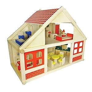 家具つき木のドールハウス
