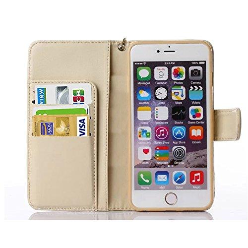 FLY SELINA iPhone 6Plus / 6sPlus 対応 花柄 ケース 手帳型 横開き レザー 革 カバー マグネット式 カードポケット スタンド機能 アイフォン6s プラス 6プラス 用 財布型 カバー ストラップ付き (ベージュ)