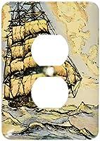 3drose LSP _ 29055_ 62つプラグコンセントカバーwith Sailing Ship、ゴールド/ブルー