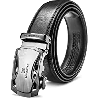 BOSTANTEN Men's Leather Belts Sliding Buckle Dress Ratchet Belt Black