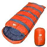 WhiteSeek BIGサイズ 寝袋 シュラフ 封筒型 【最低使用温度7℃ 1300g】 (オレンジ)