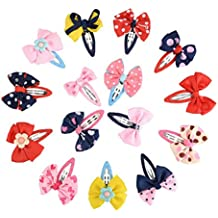 NUOLUX Snap Clips Baby Girl Toddlers Infants Ribbon Bow Hair Clips Barrettes (Random Color)- 15 Pieces