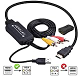 HDMI to RCAケーブル変換コンバーター AV to HDMI 変換器 RCA-HDMIコンポジット アダプター RAC/AV HDMI変換 CVBS AV to HDMIビデオオーディオ変換アダプタ 音声転送 1080p/720p対応 USBケーブル付き