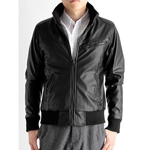 (ラフタス)Rafftas フェイクレザー シングル ライダース ジャケット Mサイズ ブラック メンズ アウター ブルゾン ジャケット