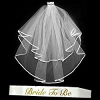 Bachelorette Bridal Sash and Veil Set - Bride To Be Glitter Satin Sash and Tule Ribbon Veil with Comb - Wedding Bachelorette Bridal Shower Party Decorations and Supplies 【You&Me】 [並行輸入品]