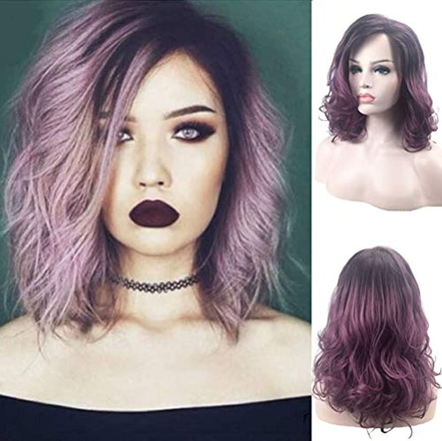 好意的ご飯要塞女性かつら150%密度波状の髪耐熱性合成毛党かつら黒グラデーションパープル46 cm