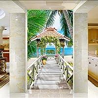 Lixiaoer カスタム3Dフォト壁紙木製パビリオンシービューココナッツの木ビーチリビングルームの入り口の背景3Dウォール壁画壁紙-280X200Cm