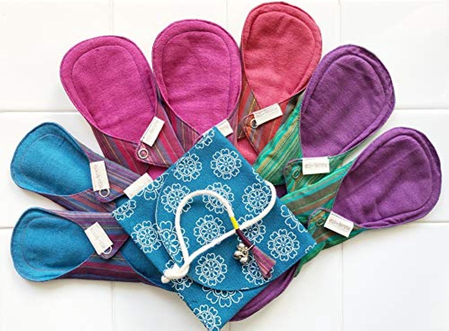 言い訳旋律的写真を撮る南インド「Eco Femme」布ナプキン 洗えるオーガニックコットン(肌面色付き)-フルサイクルキット(7枚+防水キャリーポーチ1個付)