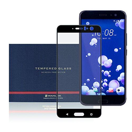 WANLOK 安心安全 日本メーカー 4D 全面吸着 保護フィルム HTC U11 au HTV33 U11 SoftBank 5.5インチ 3D 4D フルカバー ブラック フレーム ガラス フィルム 【【実機確認済】 日本製 ガラス 使用 【安心の日本人監修】 HTC U11 4D Black