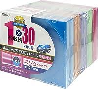 Digio2 Blu-ray DVD CD ケース 5色ミックス 30パック スリムタイプ 5mm CD-088-30