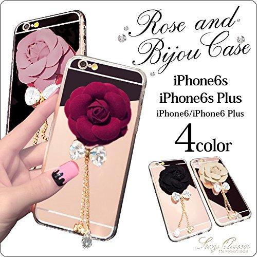 【OSYAREVO】アイフォンケース iPhone6 iPhone6s ケース iPhone 6s plus iPhone 6 Plus 薔薇デコ アクセサリー付き iphone6s ケース 透明 カバー ハード クリアストーン キャバ キャバ嬢 アイフォン6 おしゃれ スマホカバー かわいい ラインストーン iPhone6Plus・6sPlus用 Pink