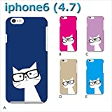 iPhone6 (4.7) iPhone6 (ねこ09) A [C021601_01] 猫 にゃんこ ネコ ねこ柄 メガネ 各社共通 スマホ ケース アップル
