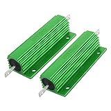 uxcell メタルクラッド抵抗 アルミ収容抵抗器 巻線型 グリーン 100W 5% 250 Ohm 2 個入り