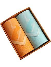 セットの2レディース100 %コットンソフトエレガントLadyハンカチ、オレンジ/ブルー