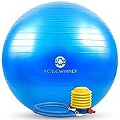 Active Winner バランスボール 65cm ブルー ポンプ付き! ヨガボール ダイエット アンチバースト仕様