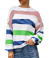 chenshiba-JP Women's Knitted Sweater Casual Colorblock Long Sleeve Jumper Top Pullover Green M