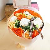 【ベルシック】 フレグランスソープフラワー ローズ ・オレンジ 新色  ほのかに香るお花  枯れないお花 父の日 お祝・お見舞い ギフトクリアバック付   (オレンジ)