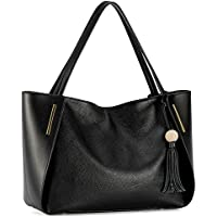 Kattee Women's Genuine Leather Tote Handbag, Shoulder Bag with Tassel Decoration