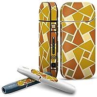 IQOS 2.4 plus 専用スキンシール COMPLETE アイコス 全面セット サイド ボタン デコ チェック・ボーダー 模様 オレンジ 黄色 004109