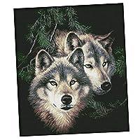 Sharplace クロスステッチキット 空白/印刷パターン 14CT 狼 オオカミ 暇つぶし 全2種 - 事前印刷
