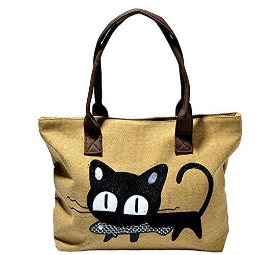 (デマ―クト)De.Markt お魚くわえたどら猫 バッグ 可愛い カジュアル トート 帆布 製