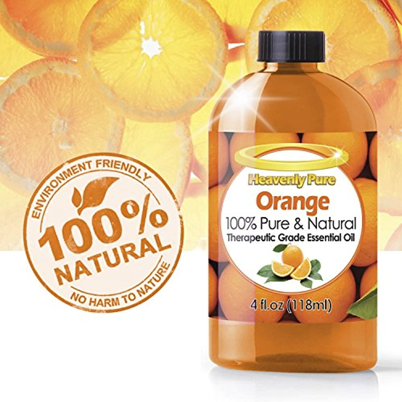 オレンジエッセンシャルオイル(HUGE 4 OZ)アイドロップ剤 - 100%ピュア&ナチュラルスイートシトラスアロマ - 治療グレード - オレンジオイルはアロマセラピー、イミュニティ、天然抗菌、および洗浄に最適です