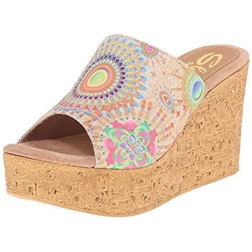 Sbicca Women's Starboard Wedge Sandal Natural/Multi 8 B US [並行輸入品]