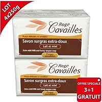 ROGE CAVAILLES Savon Surgras Extra-Doux Lait de Miel (Lot de 3 + 1 OFFERT)
