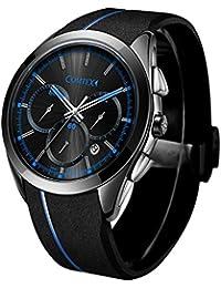 COMTEX メンズ 腕時計 シリコン ブラック スポーツ クォーツ ウオッチ 時計 クロノグラフ