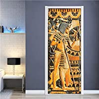 Lcymt ドアステッカー防水自己接着壁画壁紙エジプトファラオ壁絵画リビングルームの寝室のドアステッカーの装飾3D-120X156Cm