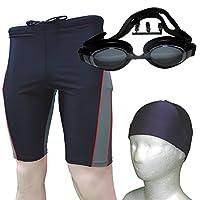 メンズ水着 3点セット 膝上フィットネス水着+S-5.00 度付きゴーグル+キャップ レッドS+Cnvy+Gblk2.0