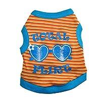 LilyAngel 犬用Tシャツベストコットンスウィートかわいいサングラスペットベスト (色 : オレンジ, サイズ : S)