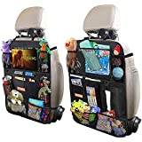 "Car Backseat Organizer for Kick Mat, Upgraded Extended Size and Larger Pockets Car Back Seat Protector with 12"" Screen Tablet Holder + 19 Storage Pockets for Toy Bottle Tissue Box Travel Accessories"