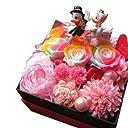 結婚祝い ディズニー フラワーギフト レインボーローズ プリザーブドフラワー ウェディング ドナルド デージー B プリザーブドフラワーフレンチbox入り 結婚祝いプレゼント 記念日の贈り物におすすめのフラワーギフト
