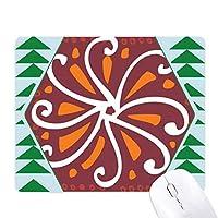 茶色の菊メキシコトーテムの古代文明の描画 オフィスグリーン松のゴムマウスパッド