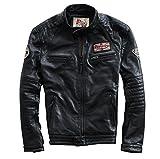メンズ レザージャケット レザージャケット メンズ バイクジャケット ライダースジャケット 本皮 牛革 防風防寒 バイク用 (L)