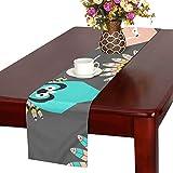 GGSXD テーブルランナー すばしこい パンダ クロス 食卓カバー 麻綿製 欧米 おしゃれ 16 Inch X 72 Inch (40cm X 182cm) キッチン ダイニング ホーム デコレーション モダン リビング 洗える