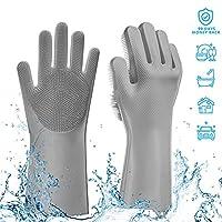 マジックシリコン 食器洗い用手袋 再利用可能 クリーニングブラシ 耐熱性 スクラブ ゴム手袋 食器洗い 掃除 キッチン 家庭 ペットの毛のお手入れ