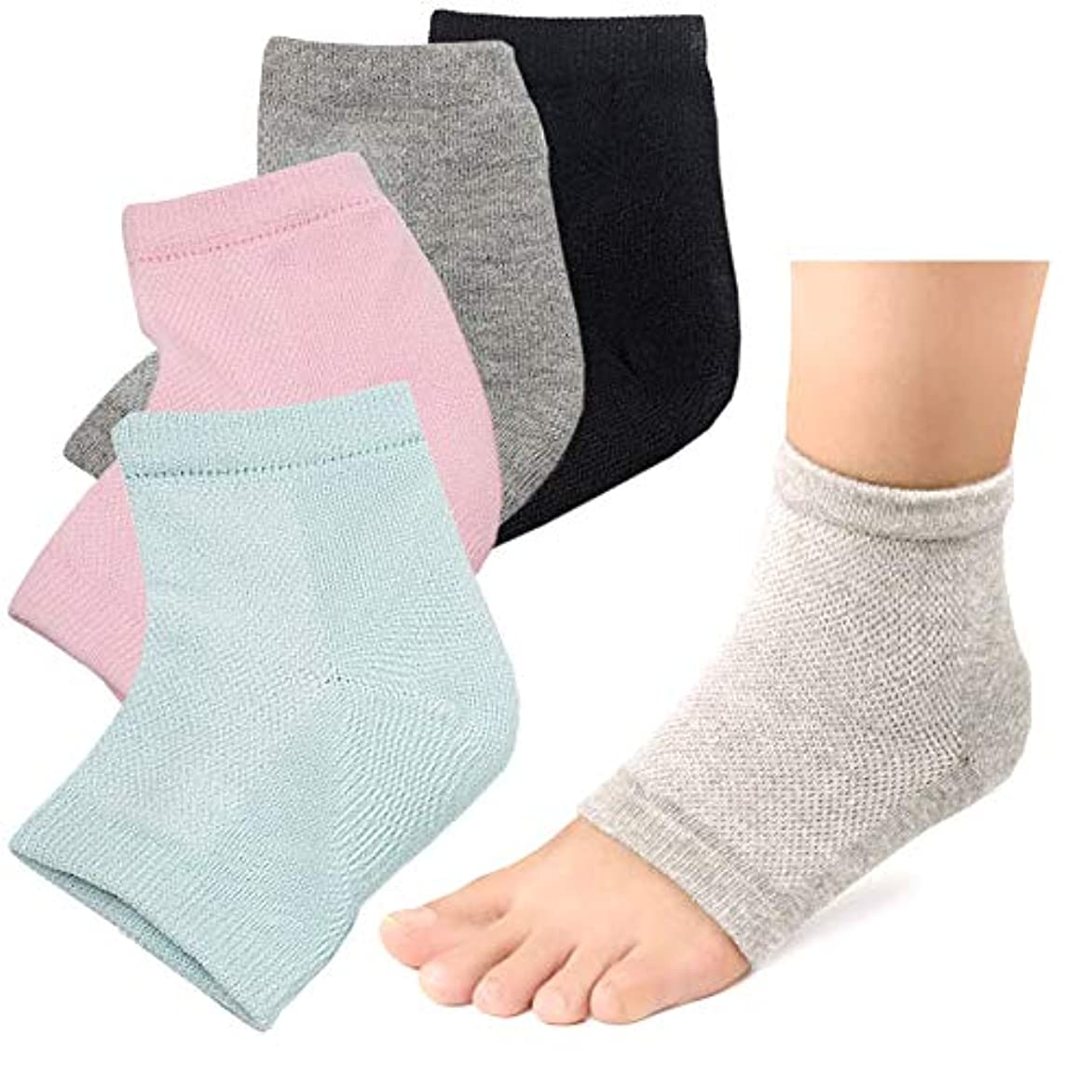 病者時収縮かかと 靴下 ソックス つるつる 2足セット かかとケア かかとサポーター ひび割れ対策 角質ケア (グレー/グリーン)