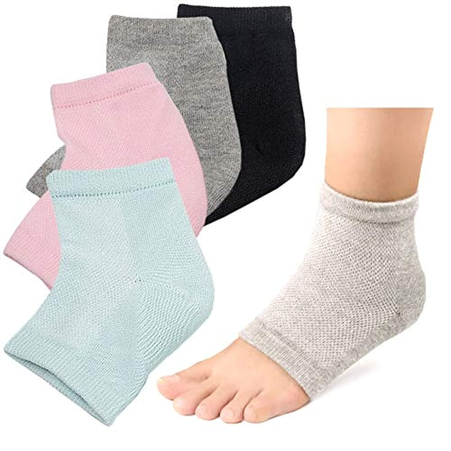 かろうじて発生するモトリーかかと 靴下 ソックス つるつる 2足セット かかとケア かかとサポーター ひび割れ対策 角質ケア (グレー/グリーン)