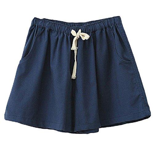ミネサム Minesam レディース 綿麻 体型カバー ショートパンツ ゆったり 純色 キュロット ショートパンツ ダックブルー M